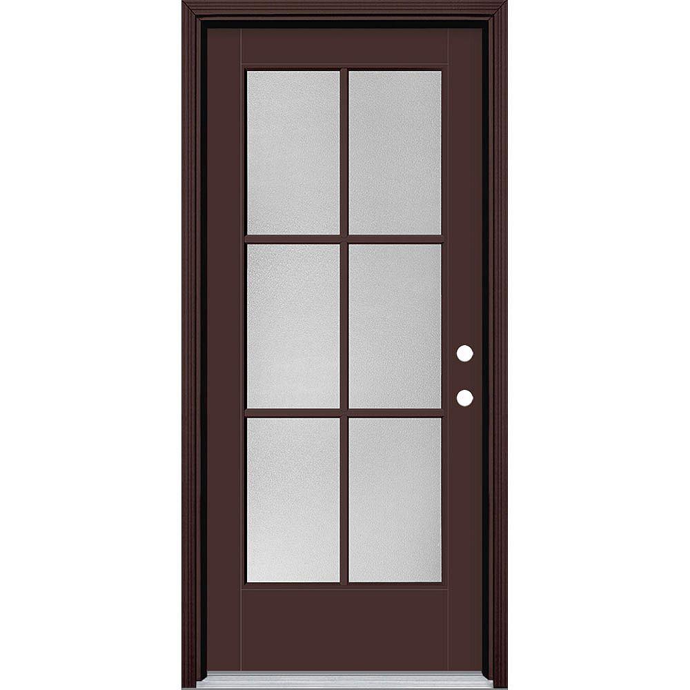 Masonite 34in x 80in Vista Grande Pear 6 Lite Exterior Door w/ Cladding Smooth Fiberglass Brown Left-Hand