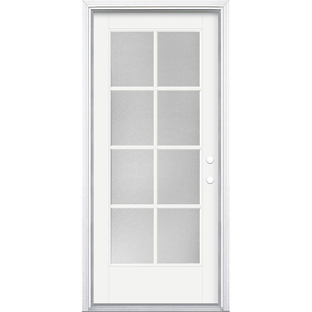 Masonite 34in x 80in Vista Grande Pear 8 Lite Exterior Door Smooth Fiberglass White Left-Hand
