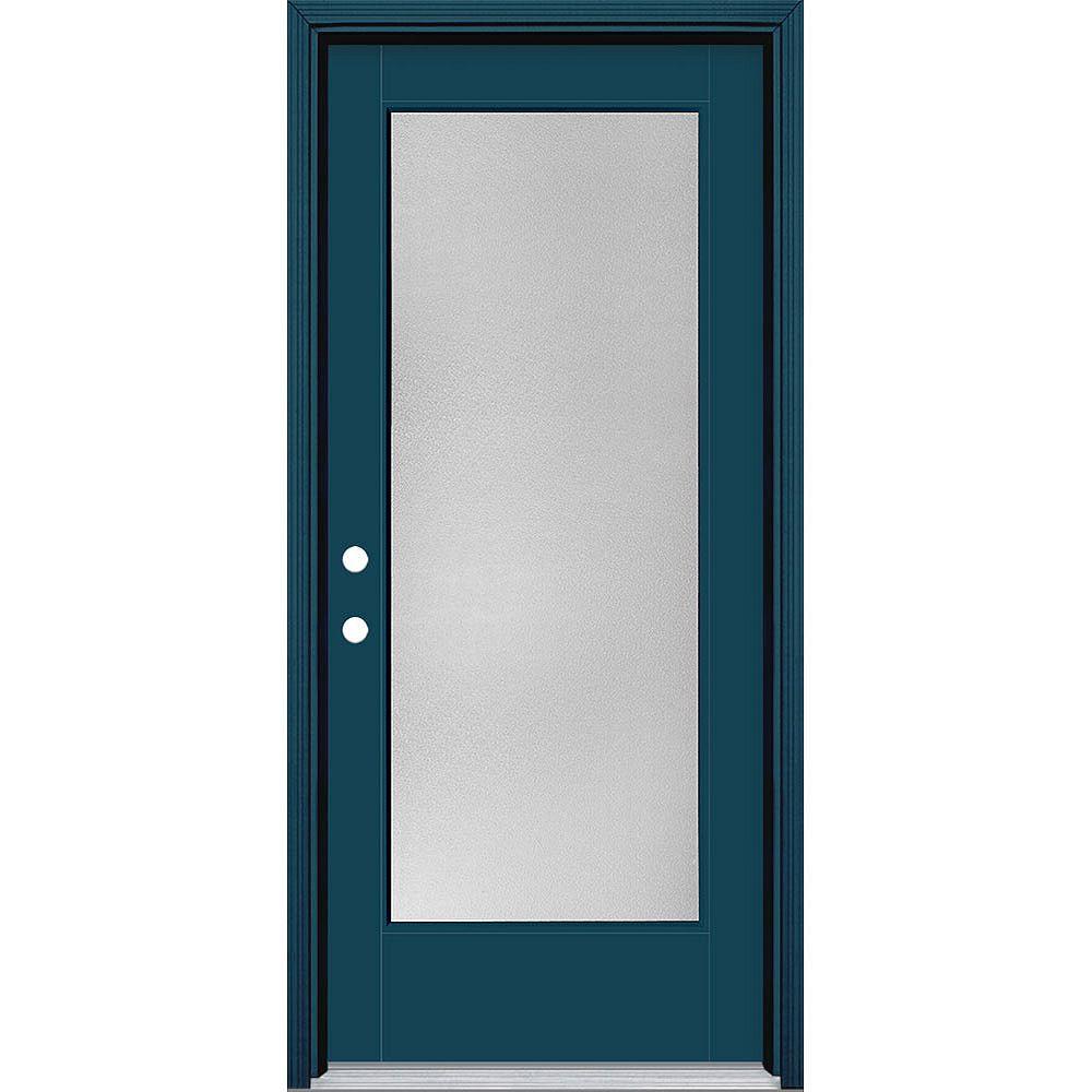 Masonite Porte en fibre de verre lisse Vista Grande Bleu reco. 34 po x 80 po Verre Pleine Pear Main Droite