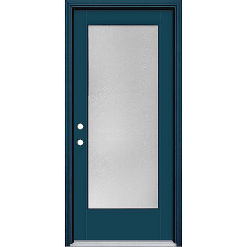 Masonite 34in x 80in Vista Grande Pear Full Lite Exterior Door w/ Cladding Smooth Fiberglass Blue Right-Hand