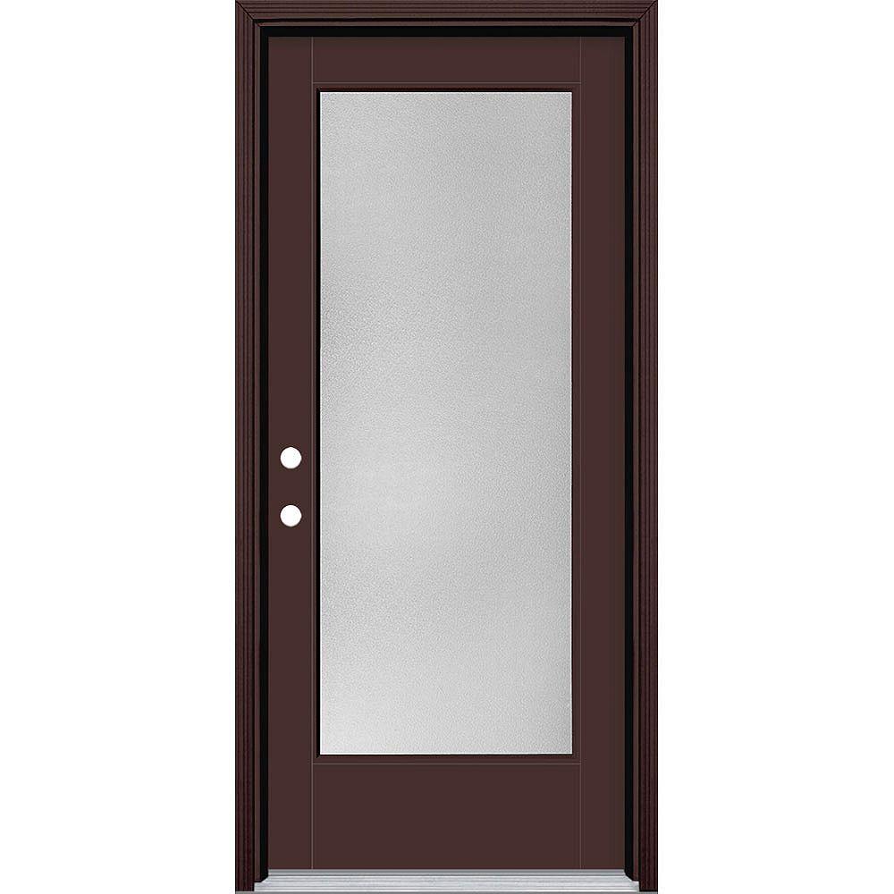 Masonite 34in x 80in Vista Grande Pear Full Lite Exterior Door w/ Cladding Smooth Fiberglass Brown Right-Hand