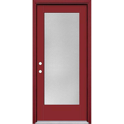 34in x 80in Vista Grande Pear Full Lite Exterior Door w/ Cladding Smooth Fiberglass Red Right-Hand