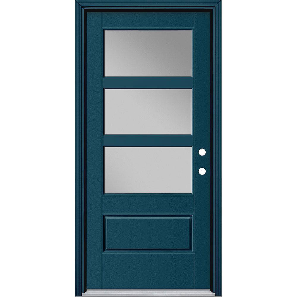 Masonite Porte en fibre de verre lisse Vista Grande Bleu 36 po x 80 po 3 CARREAUX Large Main Gauche