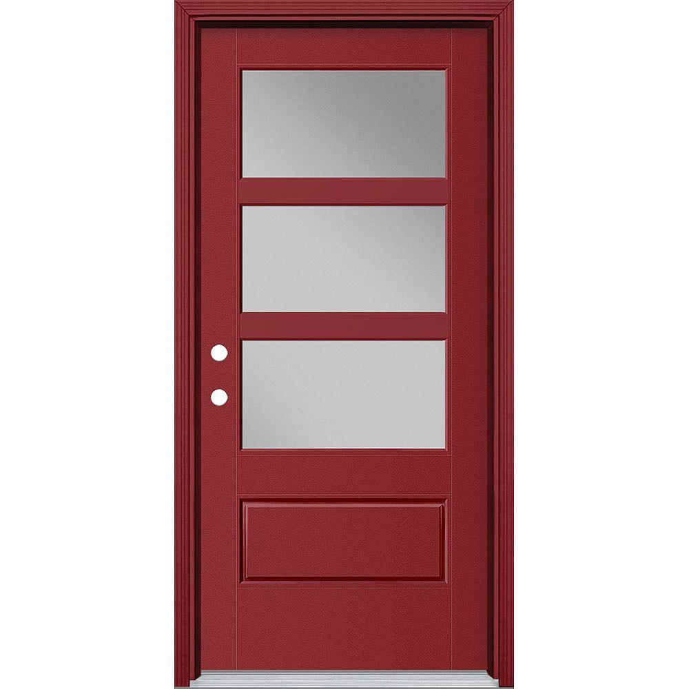 Masonite Porte en fibre de verre lisse Vista Grande Rouge 36 po x 80 po 3 CARREAUX Large Main Droite