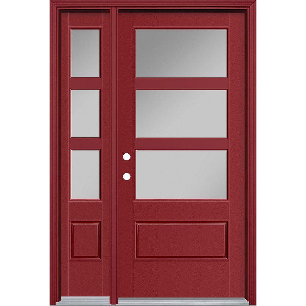 Masonite 36in x 80in Vista Grande 3 Lite Wide Exterior Door w/ Sidelite Smooth Fiberglass Red Right-Hand