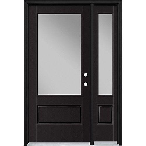 36in x 80in Vista Grande 3/4 Lite Exterior Door w/ Sidelite Smooth Fiberglass Black Left-Hand