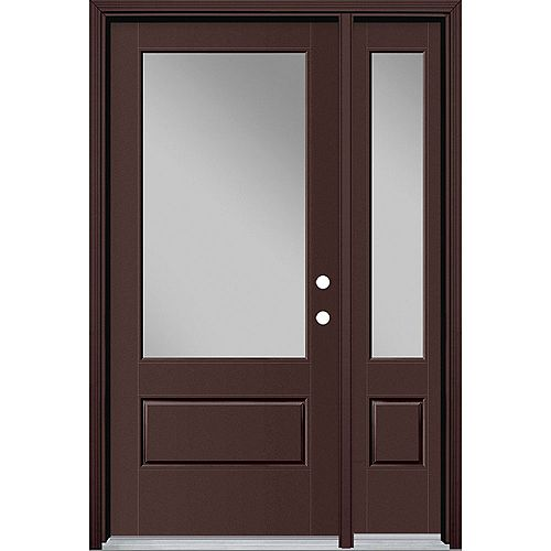 36in x 80in Vista Grande 3/4 Lite Exterior Door w/ Sidelite Smooth Fiberglass Brown Left-Hand