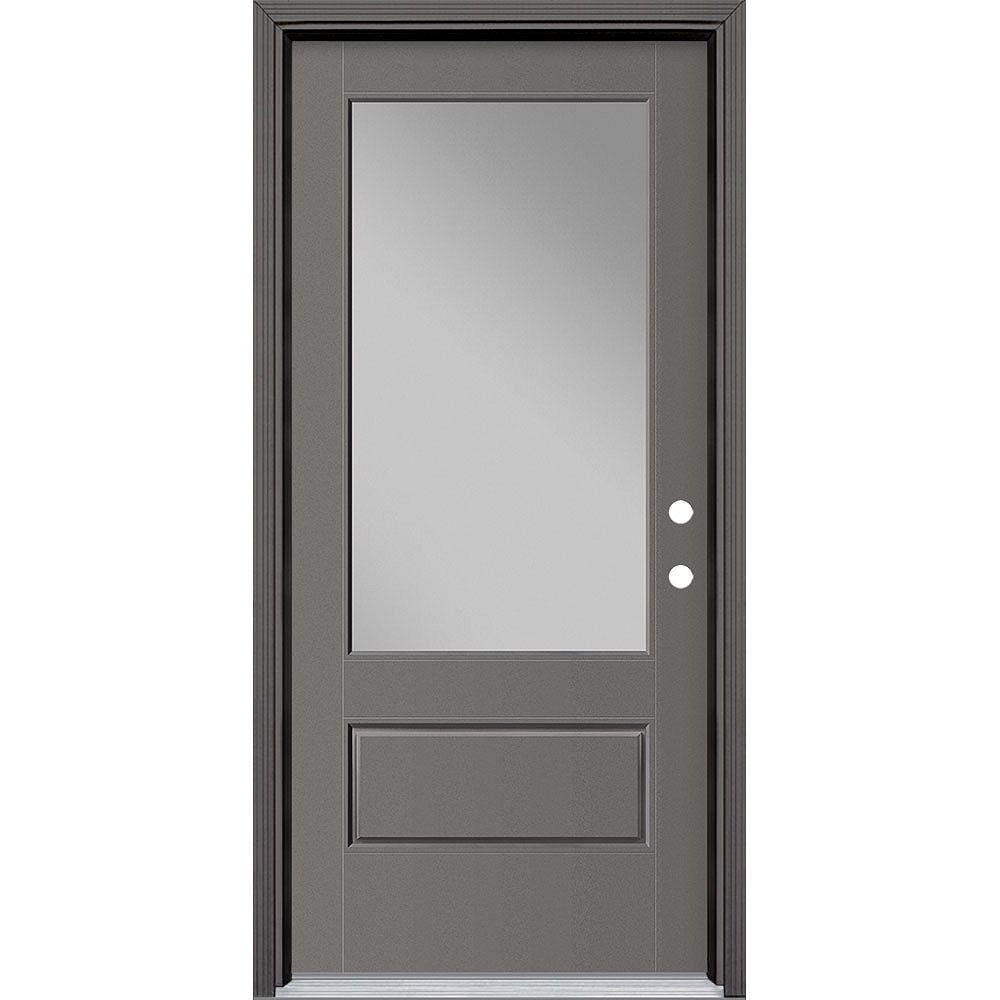 Masonite 36in x 80in Vista Grande 3/4 Lite Exterior Door Smooth Fiberglass Grey Left-Hand
