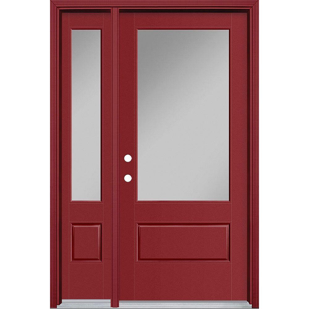 Masonite 36in x 80in Vista Grande 3/4 Lite Exterior Door w/ Sidelite Smooth Fiberglass Red Right-Hand