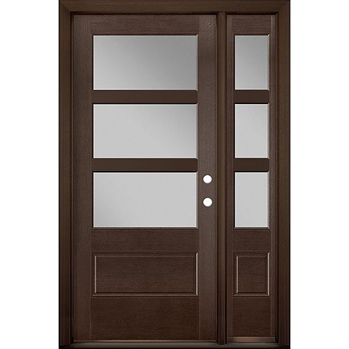 36in x 80in Vista Grande 3 Lite Wide Exterior Door w/ SL Textured Fiberglass Chestnut Left-Hand
