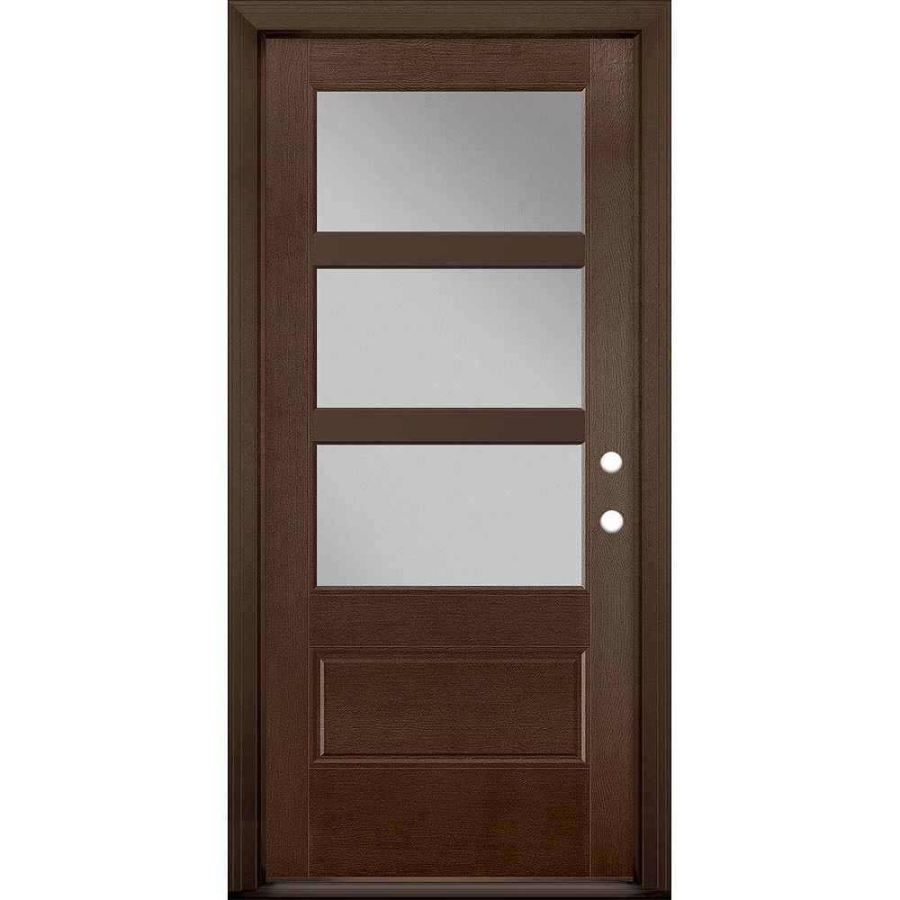Masonite 36in x 80in Vista Grande 3 Lite Wide Exterior Door Textured Fiberglass Caramel Left-Hand