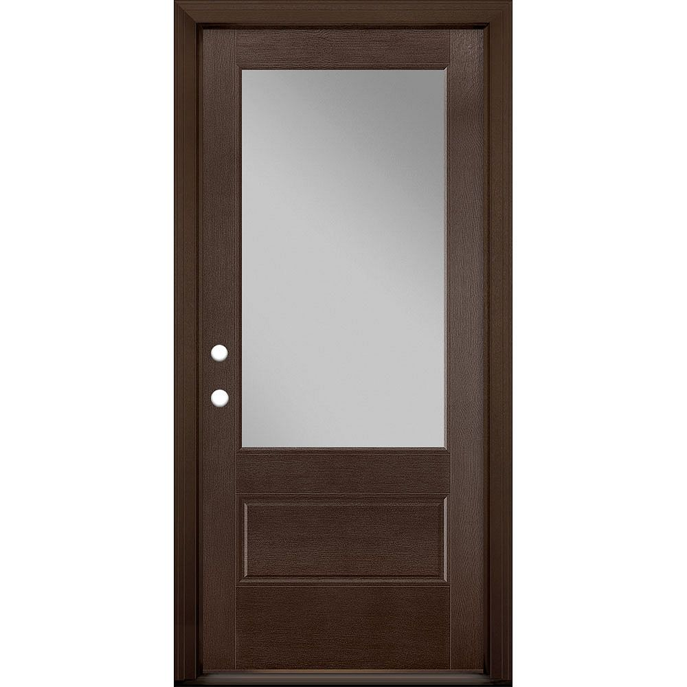Masonite 36in x 80in Vista Grande 3/4 Lite Exterior Door Textured Fiberglass Chestnut Right-Hand