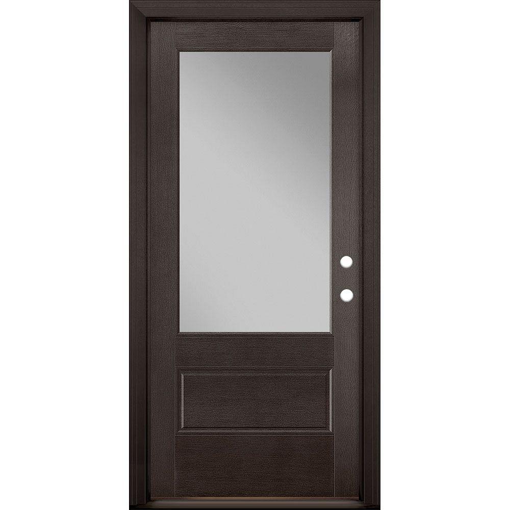Masonite 36in x 80in Vista Grande 3/4 Lite Exterior Door Textured Fiberglass Espresso Left-Hand