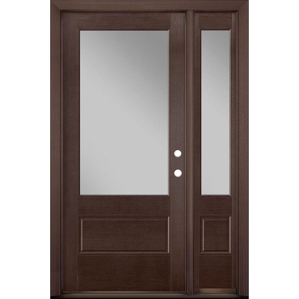 Masonite 36in x 80in Vista Grande 3/4 Lite Exterior Door w/ Sidelite Textured Fiberglass Merlot Left-Hand