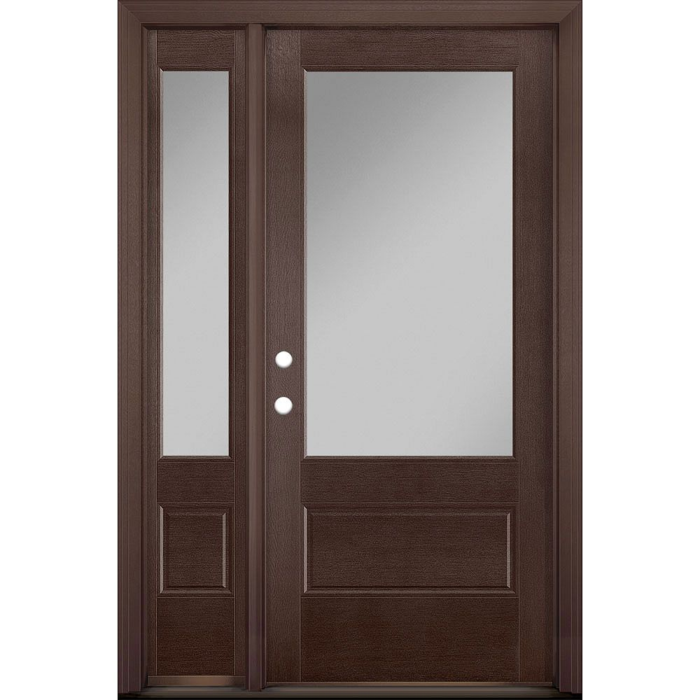 Masonite 36in x 80in Vista Grande 3/4 Lite Exterior Door w/ Sidelite Textured Fiberglass Merlot Right-Hand