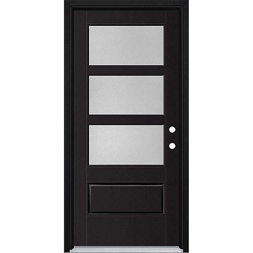 36in x 80in Vista Grande Pear 3 Lite Wide Exterior Door Smooth Fiberglass Black Left-Hand