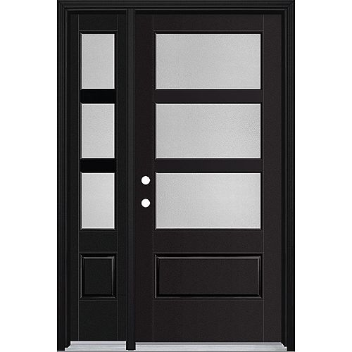 36in x 80in Vista Grande Pear 3 Lite Wide Exterior Door w/ SL Smooth Fiberglass Black Right-Hand