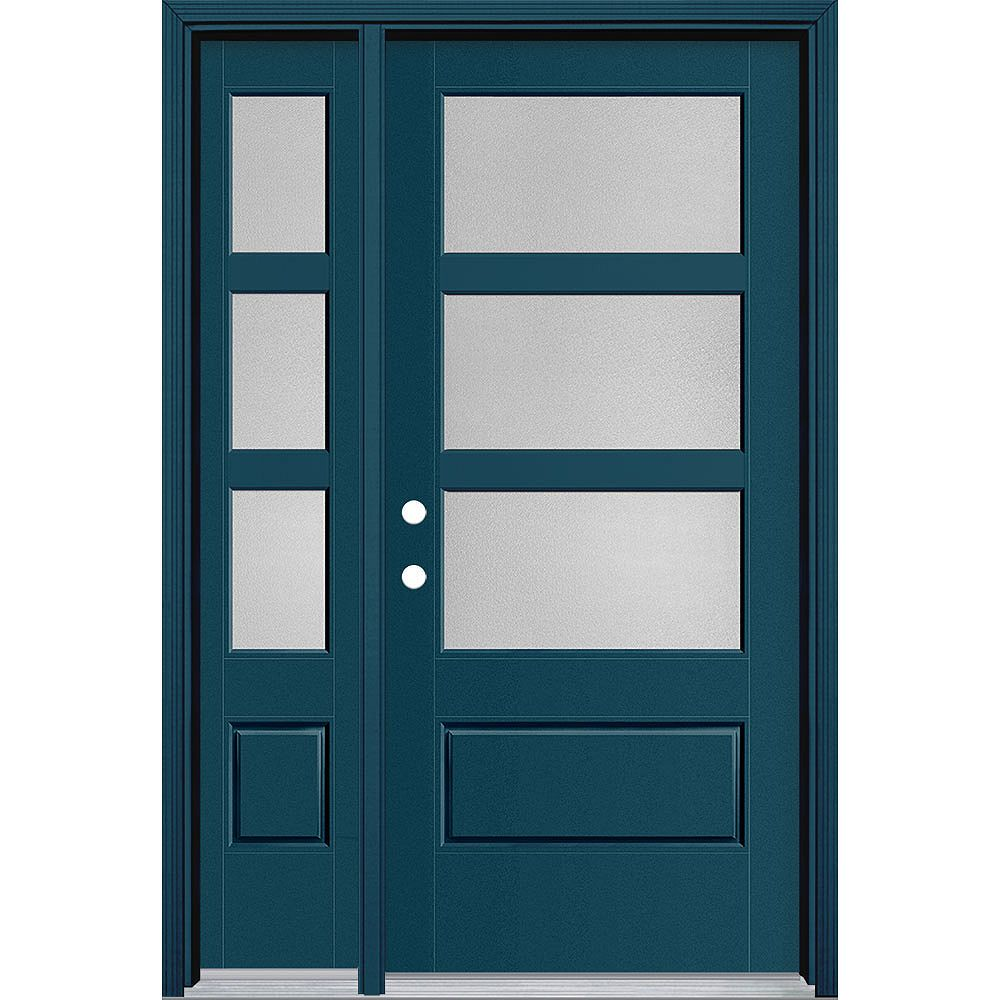 Masonite 36in x 80in Vista Grande Pear 3 Lite Wide Exterior Door w/ SL Smooth Fiberglass Blue Right-Hand
