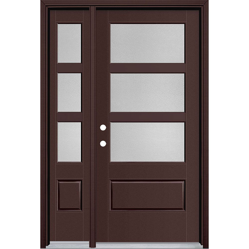 Masonite 36in x 80in Vista Grande Pear 3 Lite Wide Exterior Door w/ SL Smooth Fiberglass Brown Right-Hand