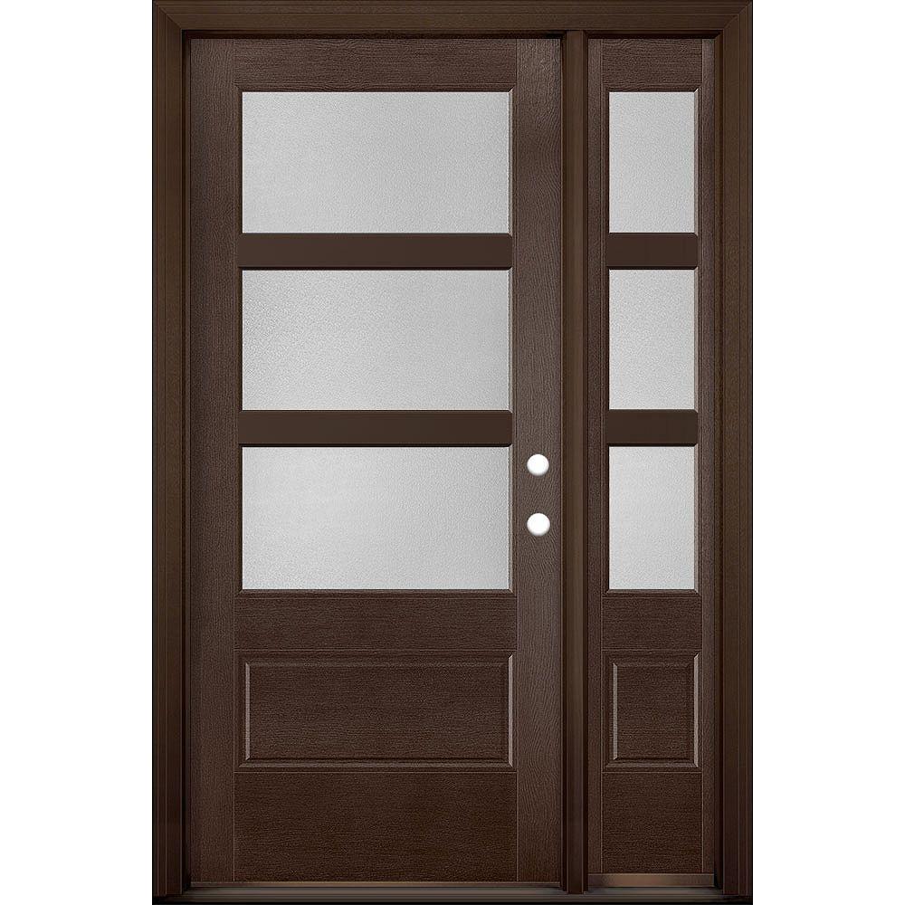 Masonite 36in x 80in Vista Grande Pear 3 Lite Wide Exterior Door w/ SL Textured Fiberglass Chestnut Left-Hand