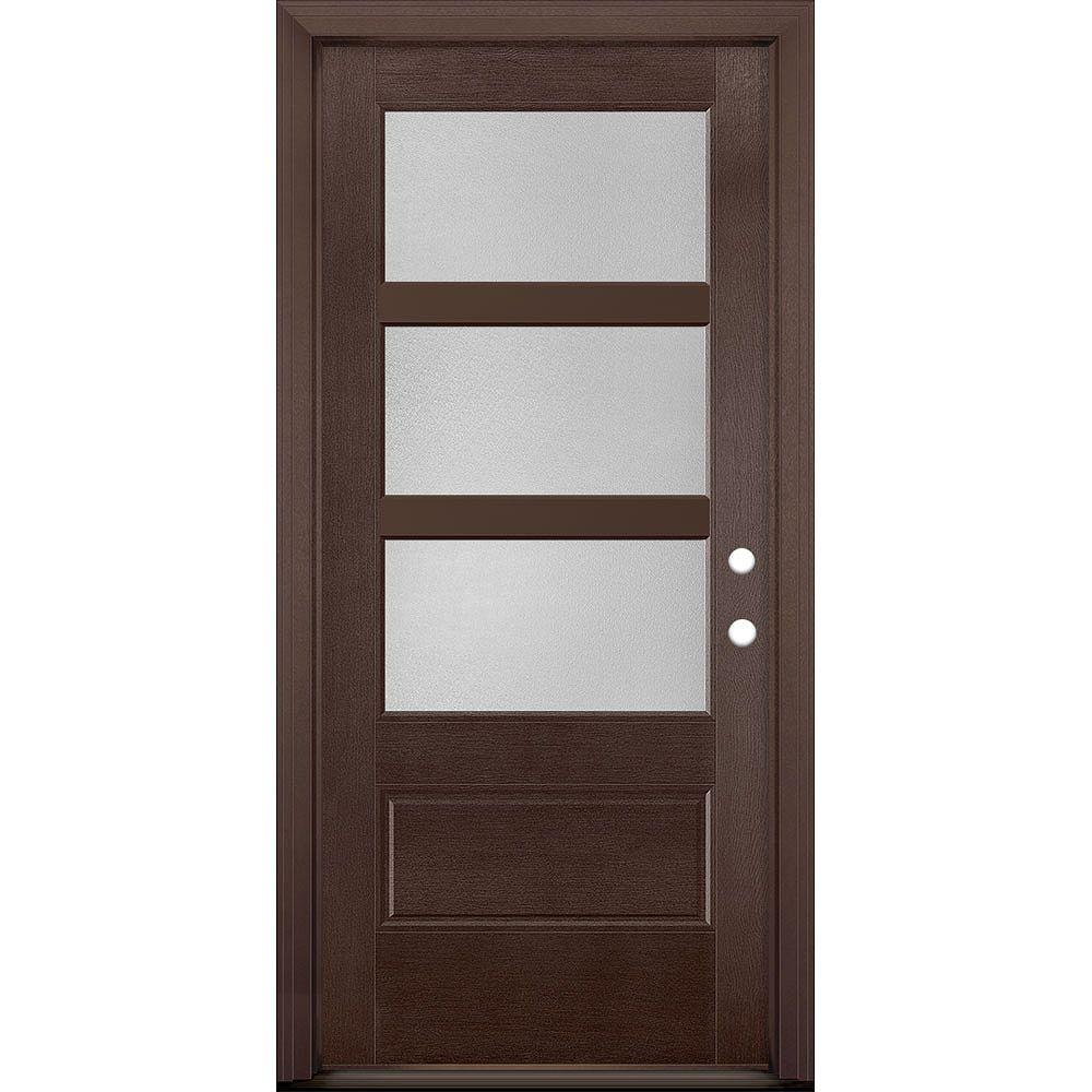Masonite 36in x 80in Vista Grande Pear 3 Lite Wide Exterior Door Textured Fiberglass Merlot Left-Hand