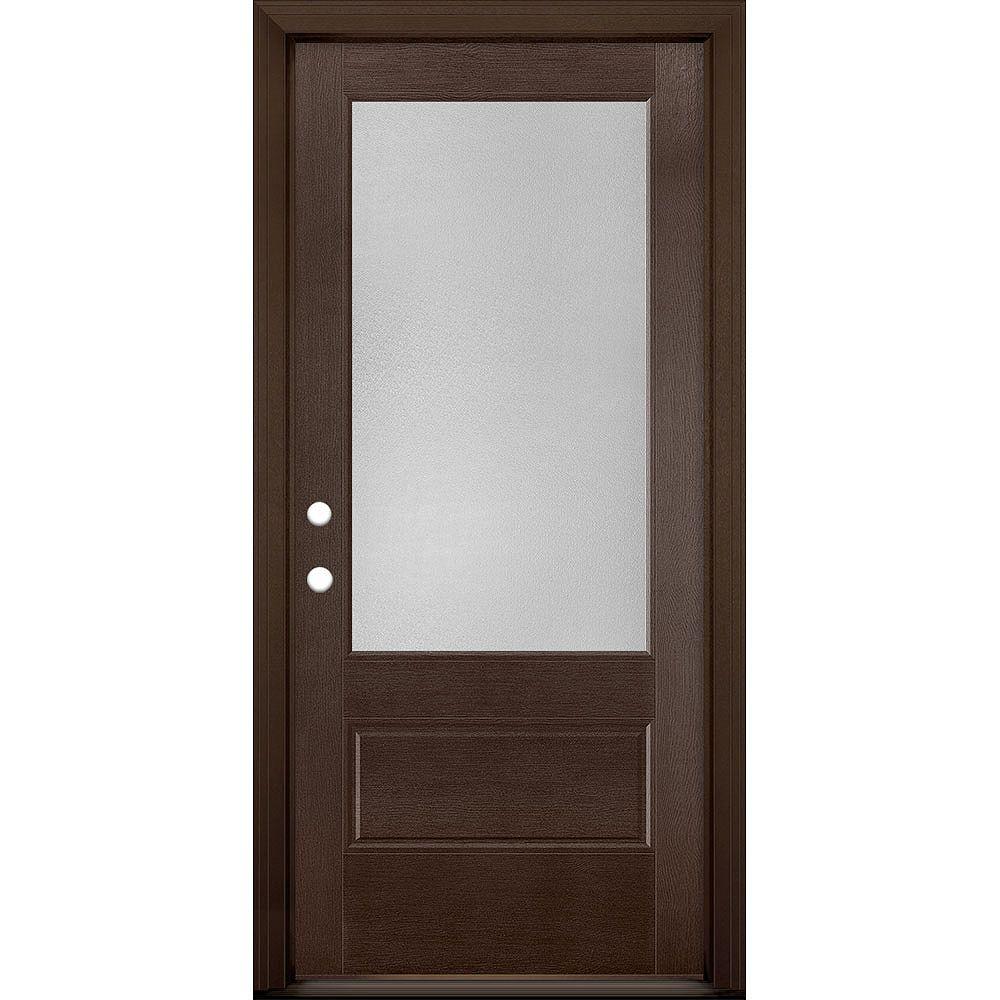 Masonite 36in x 80in Vista Grande Pear 3/4 Lite Exterior Door Textured Fiberglass Chestnut Right-Hand
