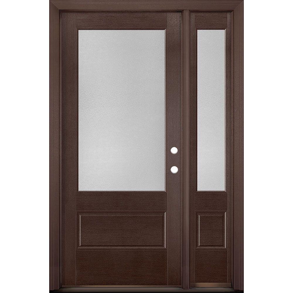 Masonite 36in x 80in Vista Grande Pear 3/4 Lite Exterior Door w/ SL Textured Fiberglass Merlot Left-Hand