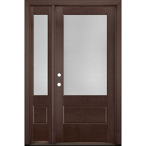 36in x 80in Vista Grande Pear 3/4 Lite Exterior Door w/ SL Textured Fiberglass Merlot Right-Hand