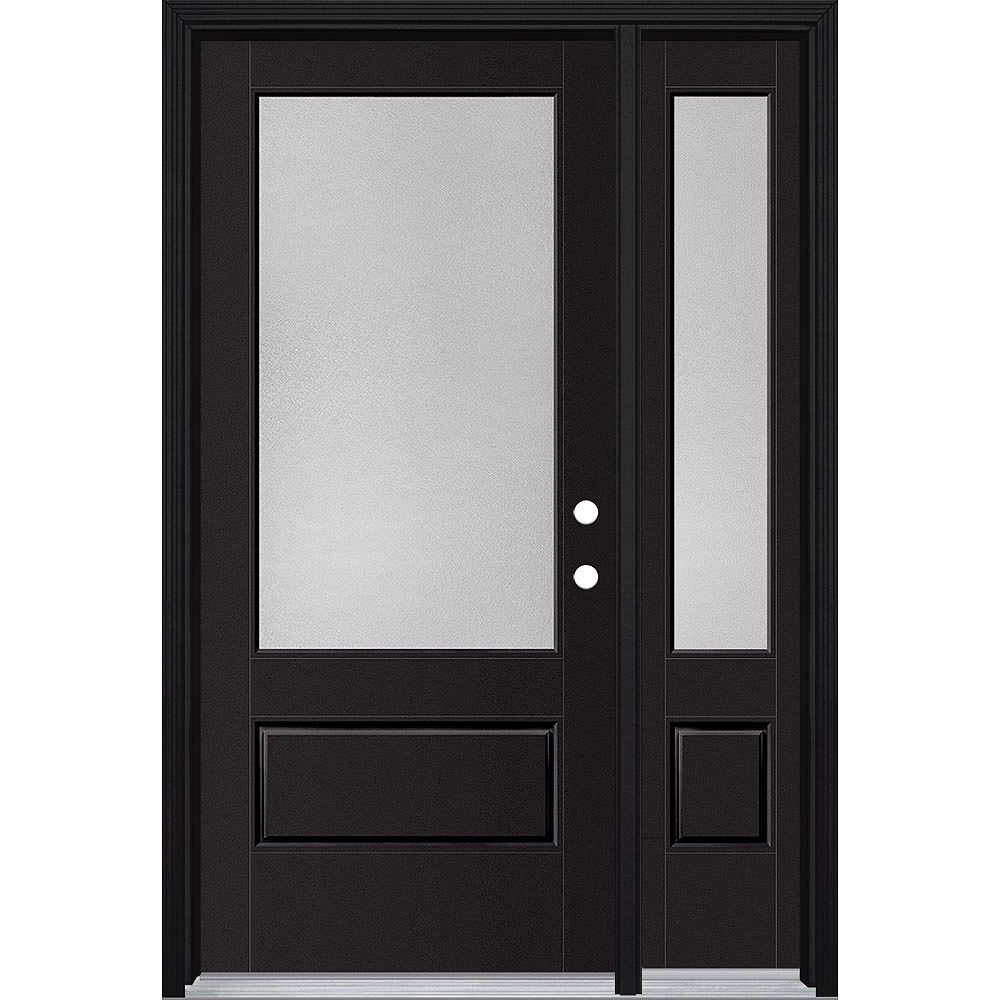 Masonite 36in x 80in Vista Grande Pear 3/4 Lite Exterior Door w/ Sidelite Smooth Fiberglass Black Left-Hand