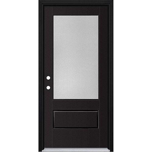 36in x 80in Vista Grande Pear 3/4 Lite Exterior Door Smooth Fiberglass Black Right-Hand