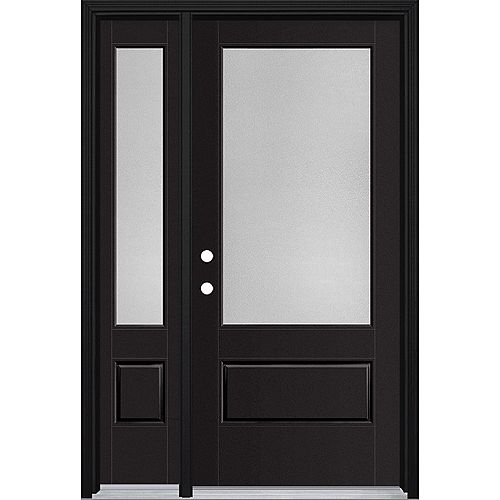 36in x 80in Vista Grande Pear 3/4 Lite Exterior Door w/ Sidelite Smooth Fiberglass Black Right-Hand