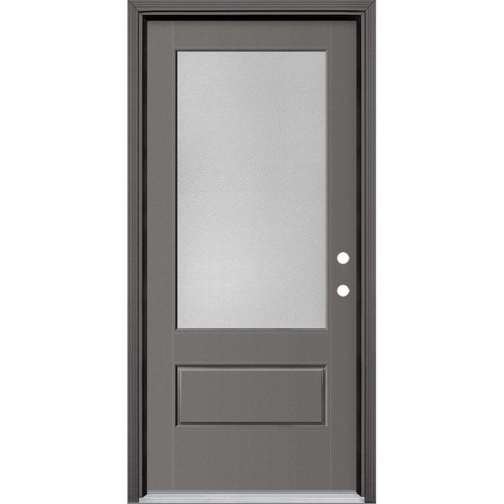 Masonite 36in x 80in Vista Grande Pear 3/4 Lite Exterior Door Smooth Fiberglass Grey Left-Hand