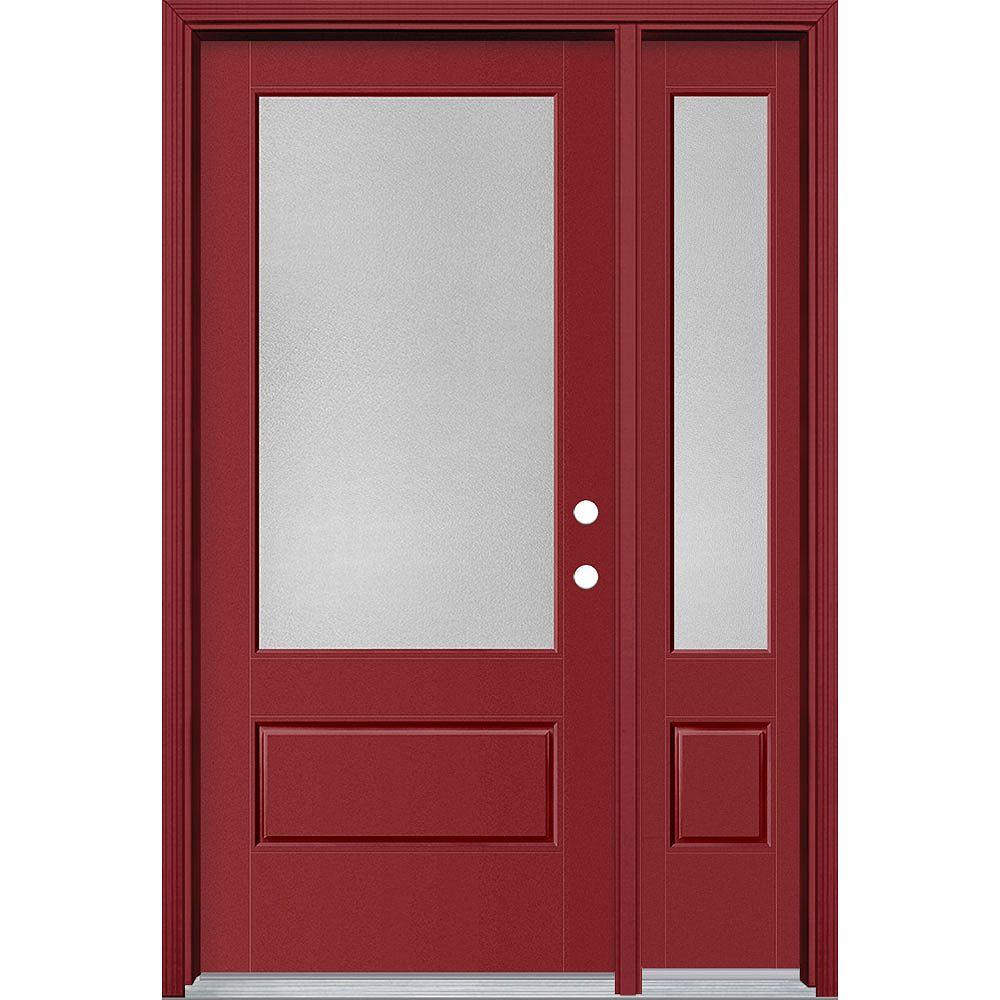 Masonite Porte/lat en fibre de verre lisse Vista Grande Rouge reco. 36 po x 80 po Verre 3/4 Pear Main Gauche