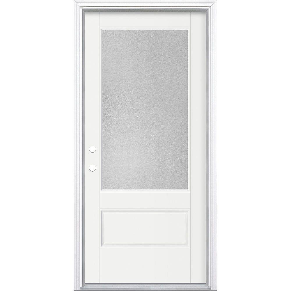 Masonite Porte en fibre de verre lisse Vista Grande Blanc 36 po x 80 po Verre 3/4 Pear Main Droite