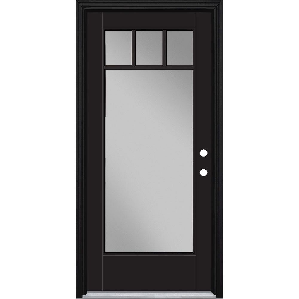 Masonite 36in x 80in Vista Grande 4 Lite Craftsman Exterior Door Smooth Fiberglass Black Left-Hand