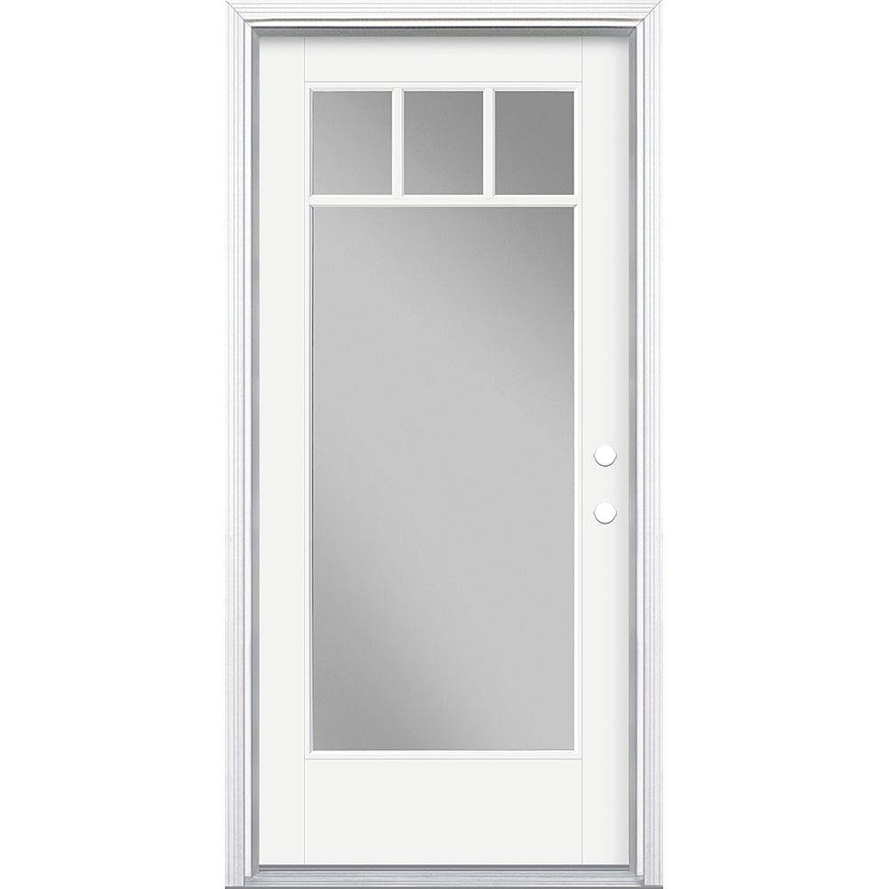 Masonite 36in x 80in Vista Grande 4 Lite Craftsman Exterior Door Smooth Fiberglass White Left-Hand