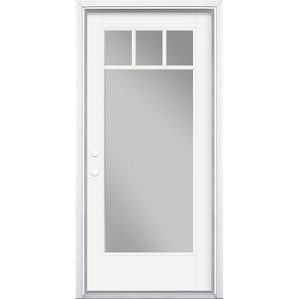 Masonite 36in x 80in Vista Grande 4 Lite Craftsman Exterior Door Smooth Fiberglass White Right-Hand