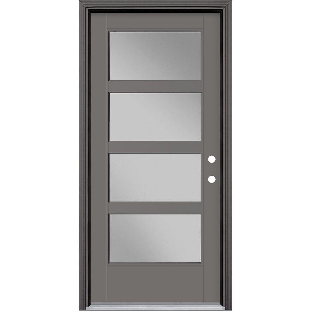 Masonite 36in x 80in Vista Grande 4 Lite Wide Exterior Door Smooth Fiberglass Grey Left-Hand