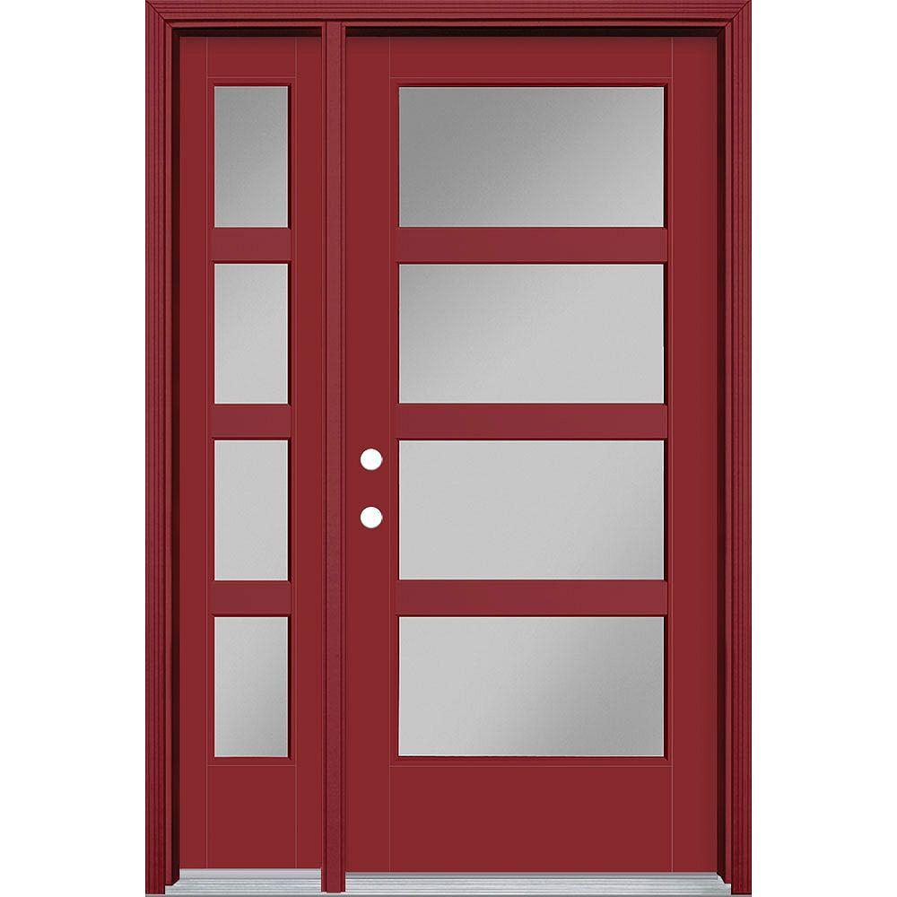 Masonite 36in x 80in Vista Grande 4 Lite Wide Exterior Door w/ Sidelite Smooth Fiberglass Red Right-Hand