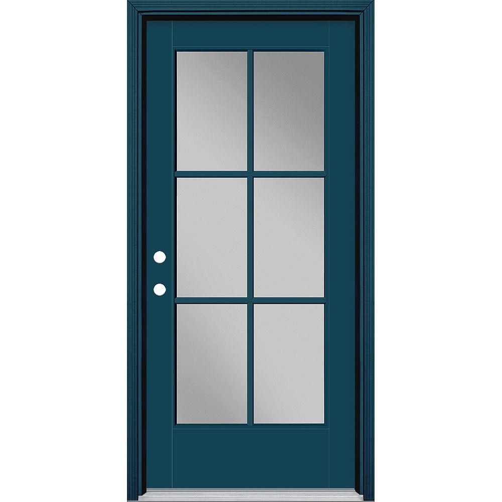 Masonite Porte en fibre de verre lisse Vista Grande Bleu 36 po x 80 po 6 CARREAUX Main Droite