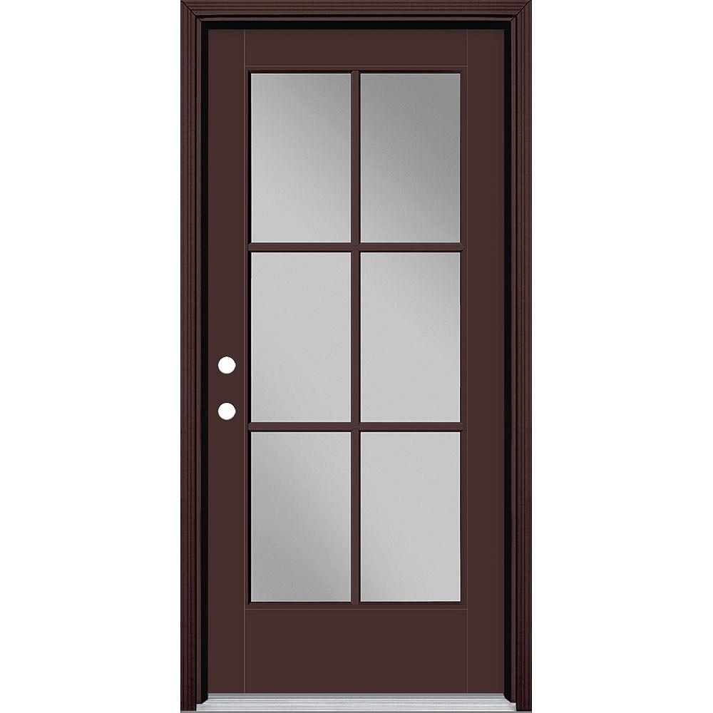 Masonite 36in x 80in Vista Grande 6 Lite Exterior Door Smooth Fiberglass Brown Right-Hand