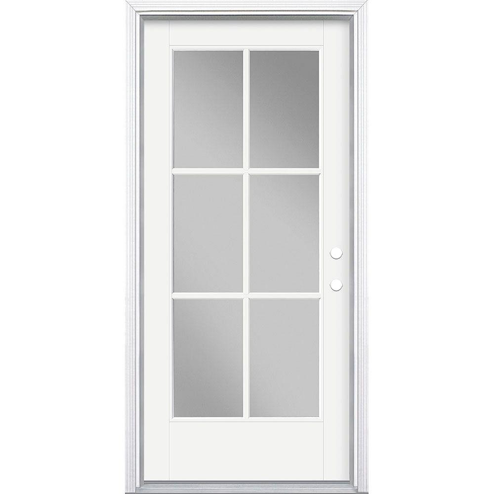 Masonite 36in x 80in Vista Grande 6 Lite Exterior Door Smooth Fiberglass White Left-Hand