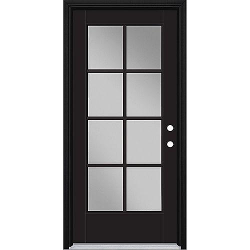 Porte d'entrée prémontée 8 carreaux VistaGrande, 36 po x 80 po, fibre de verre lisse, peinte noire