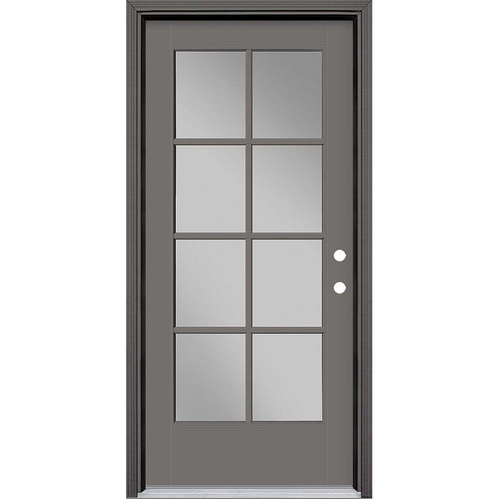 Masonite 36in x 80in Vista Grande 8 Lite Exterior Door Smooth Fiberglass Grey Left-Hand