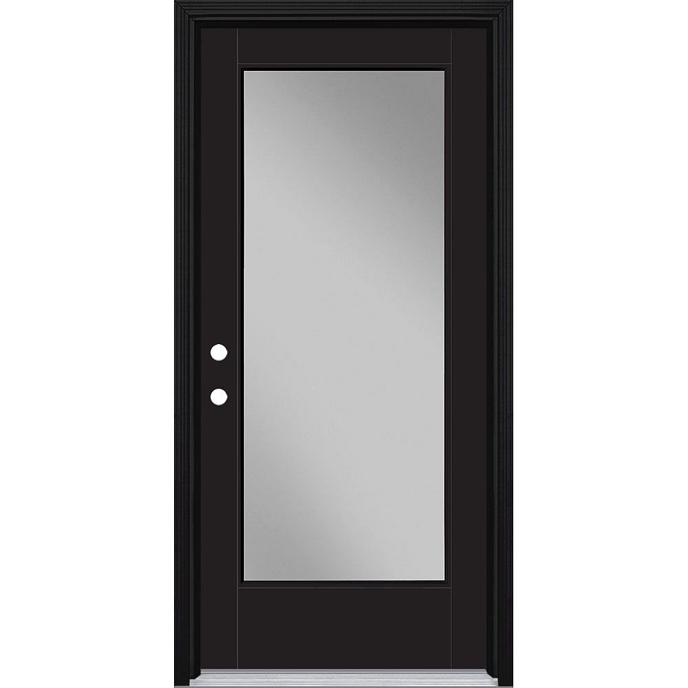 Masonite 36in x 80in Vista Grande Full Lite Exterior Door Smooth Fiberglass Black Right-Hand