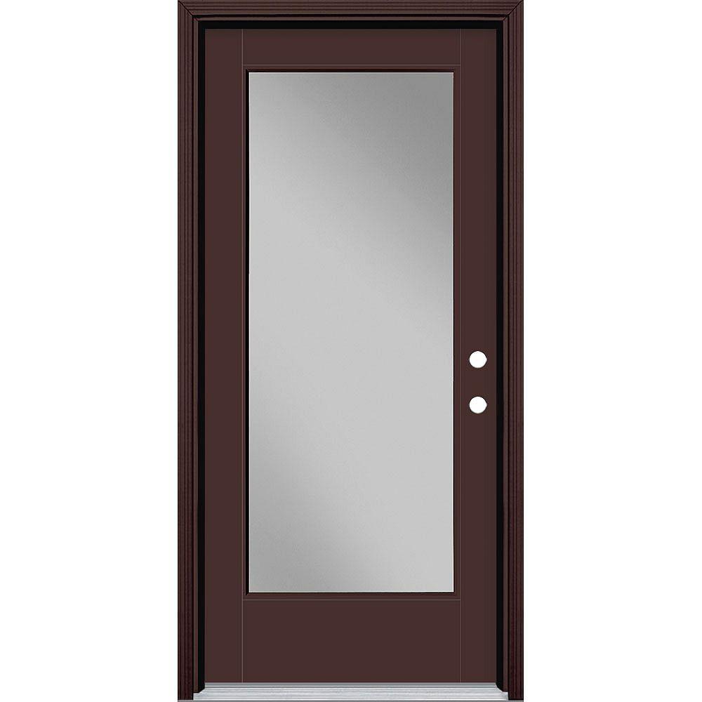 Masonite Porte en fibre de verre lisse Vista Grande Brun 36 po x 80 po Verre Pleine Main Gauche