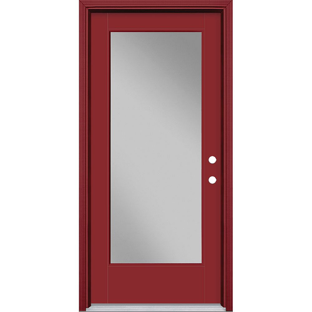 Masonite Porte en fibre de verre lisse Vista Grande Rouge 36 po x 80 po Verre Pleine Main Gauche