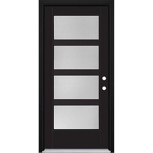 36in x 80in Vista Grande Pear 4 Lite Wide Exterior Door Smooth Fiberglass Black Left-Hand