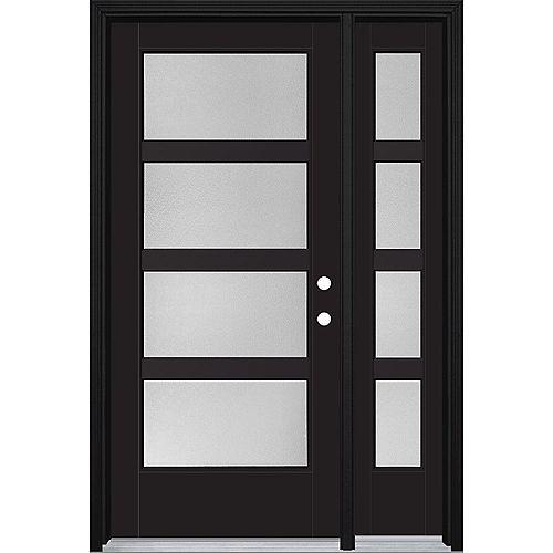 Porte d'entrée prémontée 4 carreaux avec latérale VistaGrande, 48 po x 80 po, fibre de verre lisse, peinte
