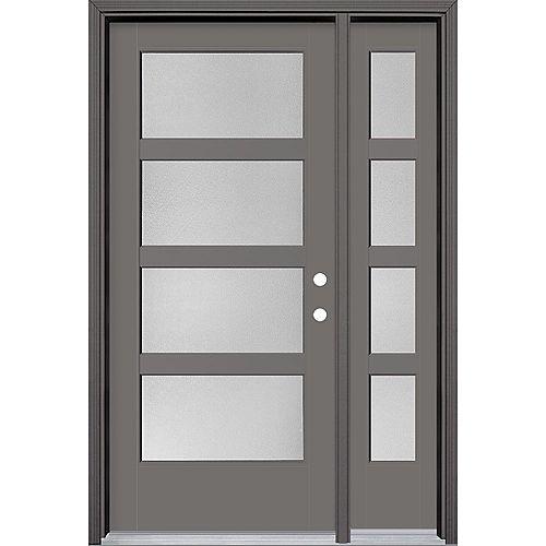 Masonite 36in x 80in Vista Grande Pear 4 Lite Wide Exterior Door w/ Sidelite Smooth Fiberglass Grey Left-Hand